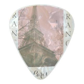 パリ、フランスエッフェル塔のインスパイア一突き パールセルロイド ギターピック