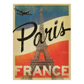 パリ、フランス-旗 ポストカード
