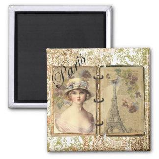 パリ-ヴィンテージの女性/エッフェル塔の記憶 マグネット