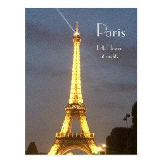 パリ: 夜のエッフェル塔 ポストカード