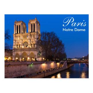 パリ-夜郵便はがきのNotre Dame ポストカード