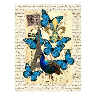 パリ、孔雀および蝶 ポストカード
