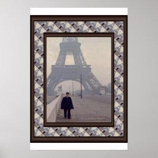 パリ、憲兵とle旅行エッフェル ポスター