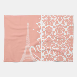 パリ; 深いモモのダマスク織 キッチンタオル