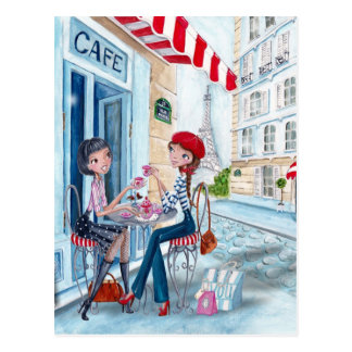 パリ-郵便はがきの茶 ポストカード
