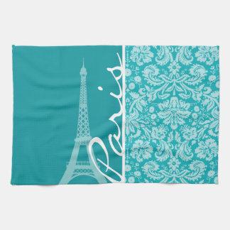 パリ; 青緑色のダマスク織パターン キッチンタオル