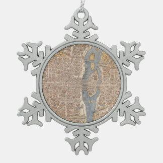 パリ(1550年)のヴィンテージの地図 スノーフレークピューターオーナメント