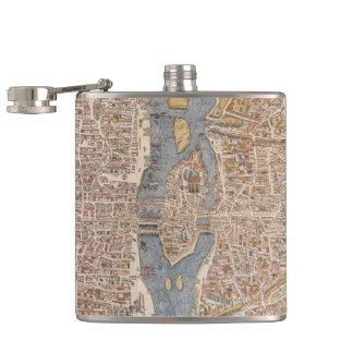 パリ(1550年)のヴィンテージの地図 フラスク