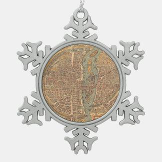 パリ(1575年)のヴィンテージの地図 スノーフレークピューターオーナメント