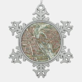 パリ(1615年)のヴィンテージの絵解き地図 スノーフレークピューターオーナメント