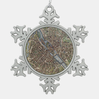 パリ(1657年)のヴィンテージの地図 スノーフレークピューターオーナメント