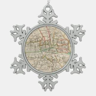 パリ(1678年)のヴィンテージの地図 スノーフレークピューターオーナメント