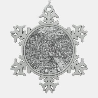 パリ(17世紀)のヴィンテージの絵解き地図 スノーフレークピューターオーナメント