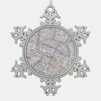パリ(1865年)のヴィンテージの地図 スノーフレークピューターオーナメント