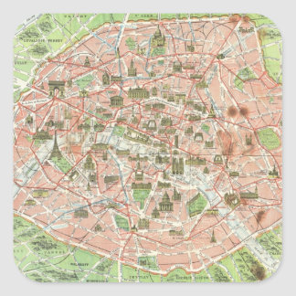 パリ(1920年)のヴィンテージの地図 スクエアシール