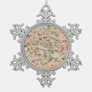 パリ(1920年)のヴィンテージの地図 スノーフレークピューターオーナメント