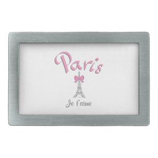 パリ- Jeのt'aime (I愛) 長方形ベルトバックル