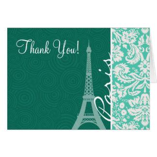 パリ; Seafoamの緑のダマスク織 ノートカード