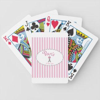 """""""パリI愛"""" -ピンクのストライブ柄 バイスクルトランプ"""