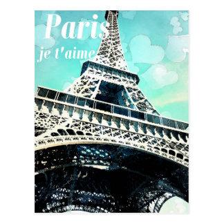 「パリje t'aime」のレトロのエッフェル塔の郵便はがき ポストカード
