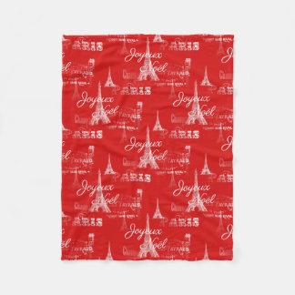 パリJoyeux Noelのクリスマスの赤のフリースブランケット フリースブランケット