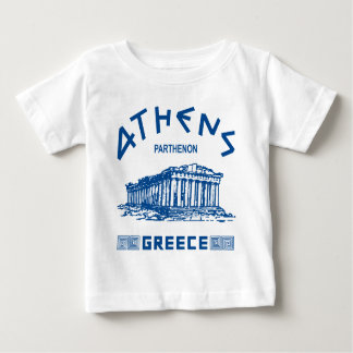 パルテノン-アテネ-ギリシャ語(青い) ベビーTシャツ