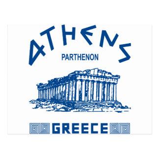 パルテノン-アテネ-ギリシャ語(青い) ポストカード