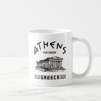 パルテノン-アテネ-ギリシャ語(黒) コーヒーマグカップ