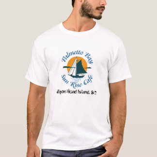 パルメット湾の日の出のカフェのロゴのTシャツ Tシャツ