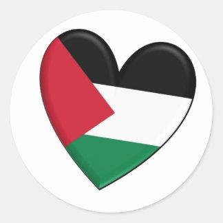 パレスチナのハートの旗 ラウンドシール