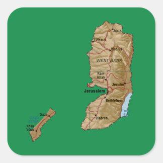 パレスチナの地図のステッカー スクエアシール