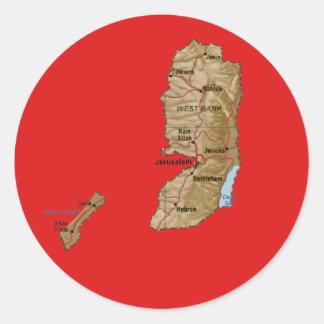 パレスチナの地図のステッカー ラウンドシール