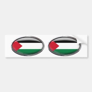 パレスチナの旗のガラス楕円形 バンパーステッカー