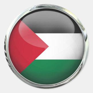 パレスチナの旗のガラス玉 ラウンドシール
