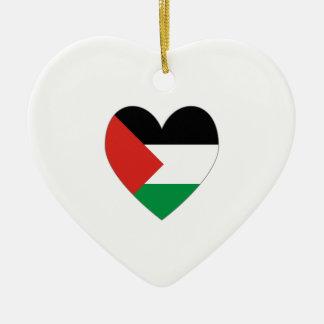 パレスチナの旗のハートのバレンタイン セラミックオーナメント