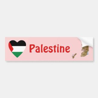 パレスチナの旗のハート + 地図のバンパーステッカー バンパーステッカー
