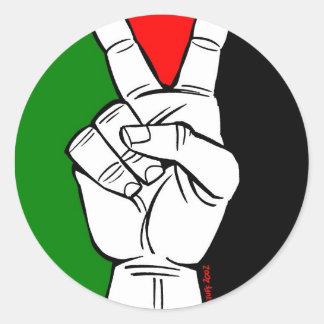 パレスチナの旗のピースサイン ラウンドシール
