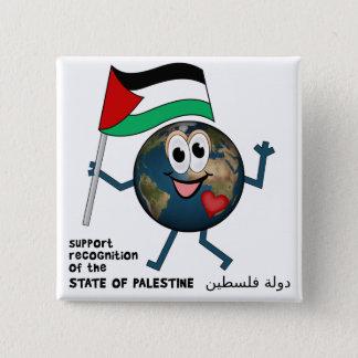 パレスチナの独立国家の世界Recoqnition 5.1cm 正方形バッジ
