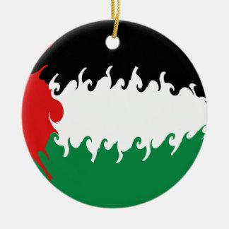 パレスチナ|すごい|旗 陶器製丸型オーナメント