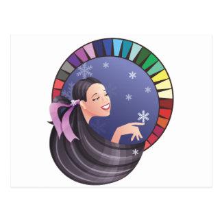 パレットが付いている冬のタイプ女の子 ポストカード