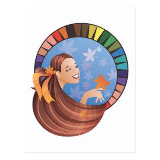 パレットが付いている秋(秋)のタイプ女の子 ポストカード