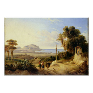 パレルモ1840年の眺め ポスター