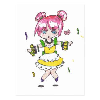 パレードのビーズとの謝肉祭のチビ(小さくかわいく書いた感じ) ポストカード
