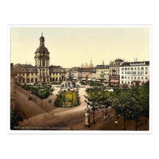 パレードの場所およびKaufhaus、カルルスルーエ、Baden、Germa ポストカード