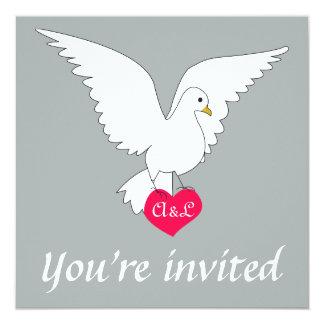 パロマの灰色の鳩の結婚式招待状 カード