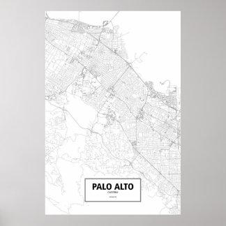 パロ・アルト、カリフォルニア(白の黒) ポスター