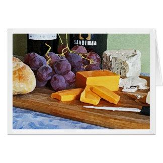 パンのブドウのチェダーおよびブルーチーズの静物画 カード