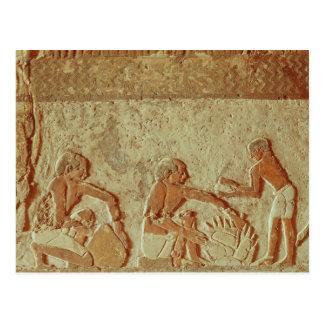 パンの作り、焼けることを描写するレリーフ、浮き彫り ポストカード