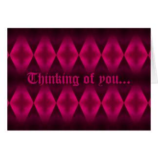 パンクのショッキングピンクのダイヤモンドパターン カード