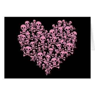 パンクのピンクのスカルのハート カード